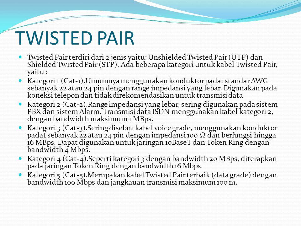 TWISTED PAIR Twisted Pair terdiri dari 2 jenis yaitu: Unshielded Twisted Pair (UTP) dan Shielded Twisted Pair (STP). Ada beberapa kategori untuk kabel