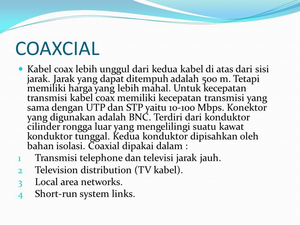 COAXCIAL Kabel coax lebih unggul dari kedua kabel di atas dari sisi jarak. Jarak yang dapat ditempuh adalah 500 m. Tetapi memiliki harga yang lebih ma