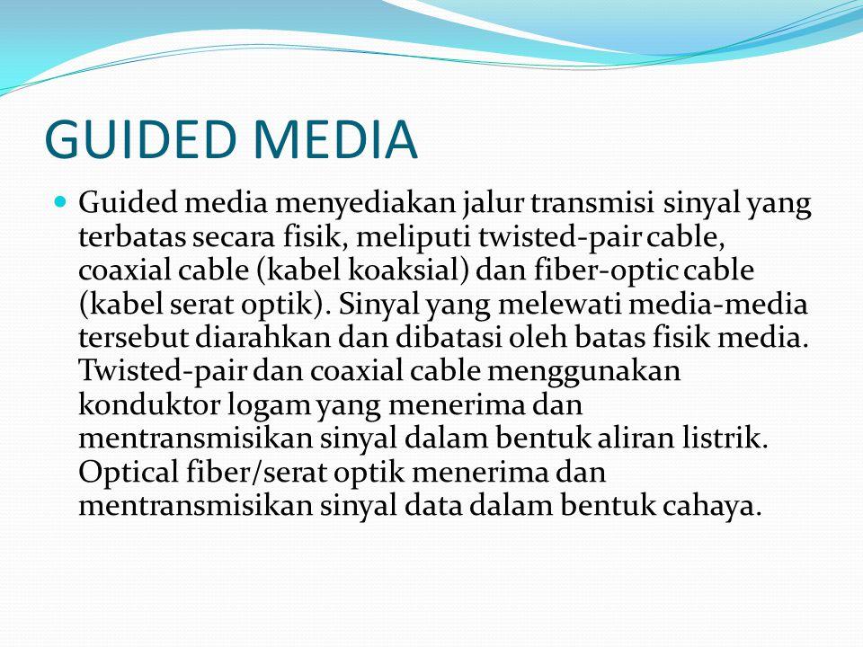 GUIDED MEDIA Guided media menyediakan jalur transmisi sinyal yang terbatas secara fisik, meliputi twisted-pair cable, coaxial cable (kabel koaksial) d