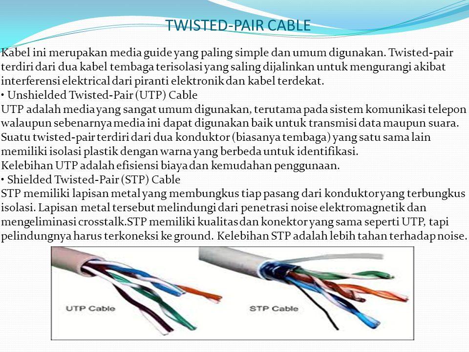 TWISTED-PAIR CABLE Kabel ini merupakan media guide yang paling simple dan umum digunakan. Twisted-pair terdiri dari dua kabel tembaga terisolasi yang