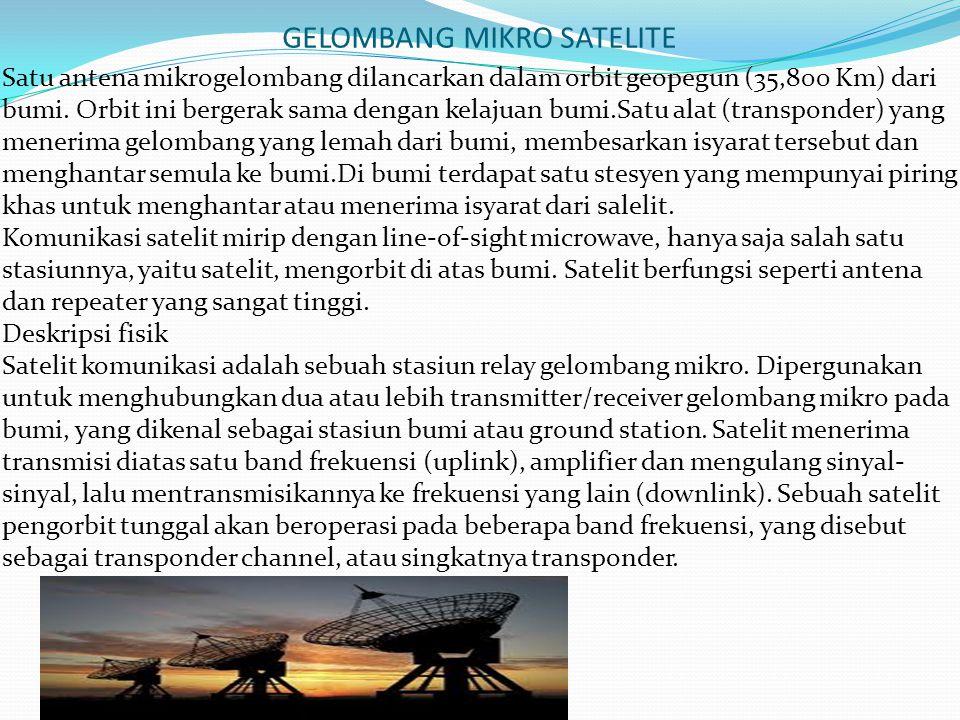 GELOMBANG MIKRO SATELITE Satu antena mikrogelombang dilancarkan dalam orbit geopegun (35,800 Km) dari bumi. Orbit ini bergerak sama dengan kelajuan bu