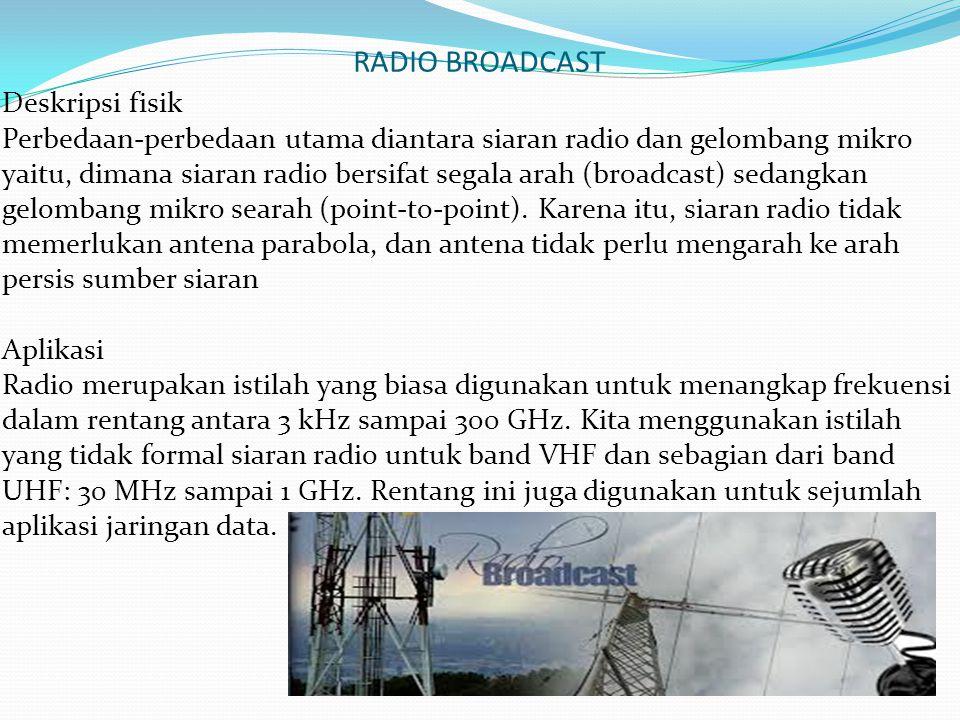 RADIO BROADCAST Deskripsi fisik Perbedaan-perbedaan utama diantara siaran radio dan gelombang mikro yaitu, dimana siaran radio bersifat segala arah (b
