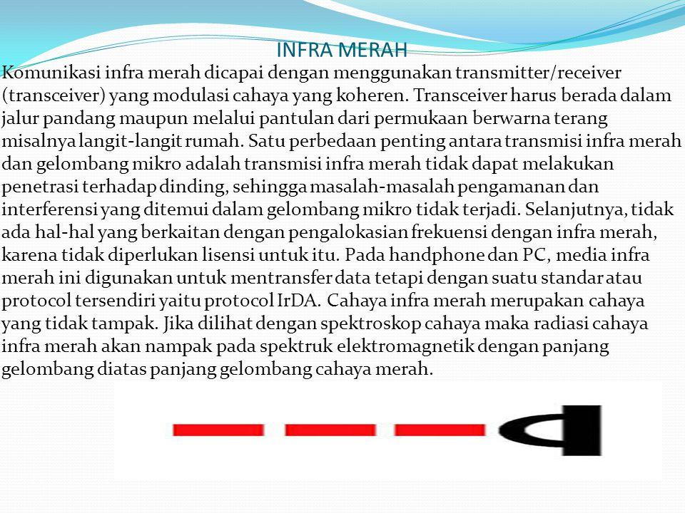 INFRA MERAH Komunikasi infra merah dicapai dengan menggunakan transmitter/receiver (transceiver) yang modulasi cahaya yang koheren. Transceiver harus