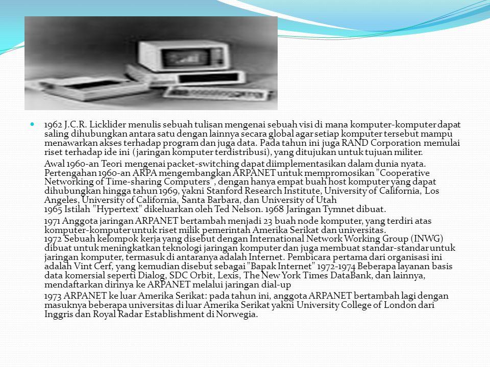 1962 J.C.R. Licklider menulis sebuah tulisan mengenai sebuah visi di mana komputer-komputer dapat saling dihubungkan antara satu dengan lainnya secara