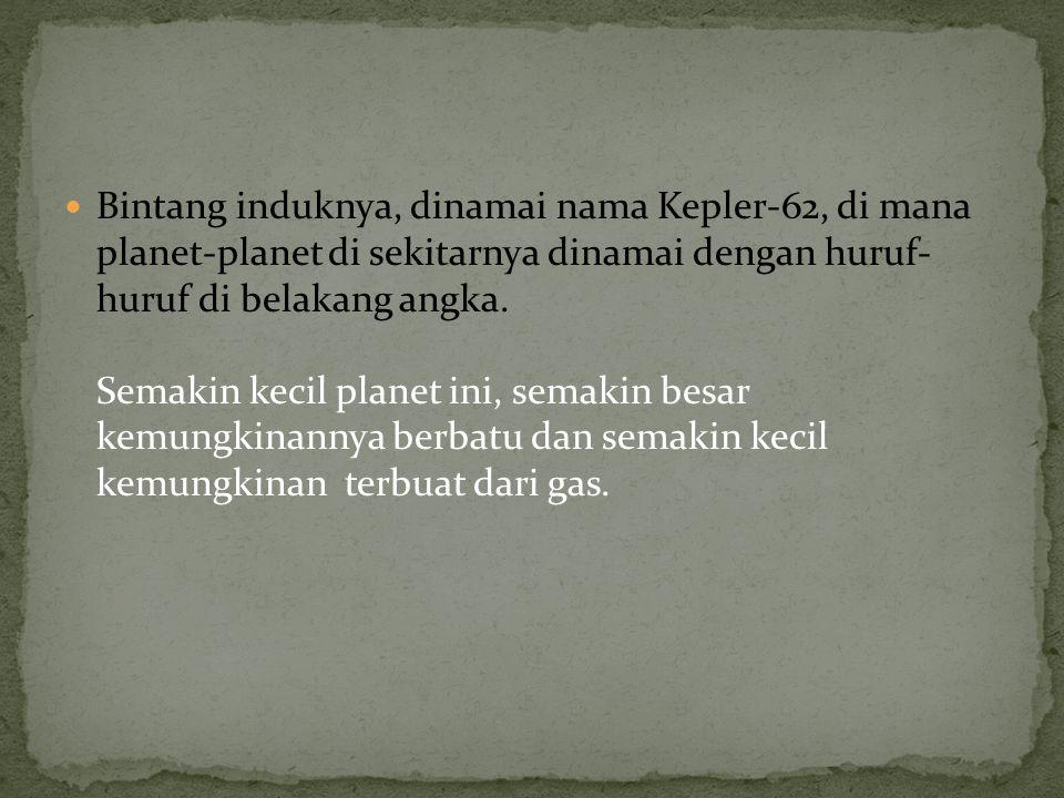 Bintang induknya, dinamai nama Kepler-62, di mana planet-planet di sekitarnya dinamai dengan huruf- huruf di belakang angka. Semakin kecil planet ini,