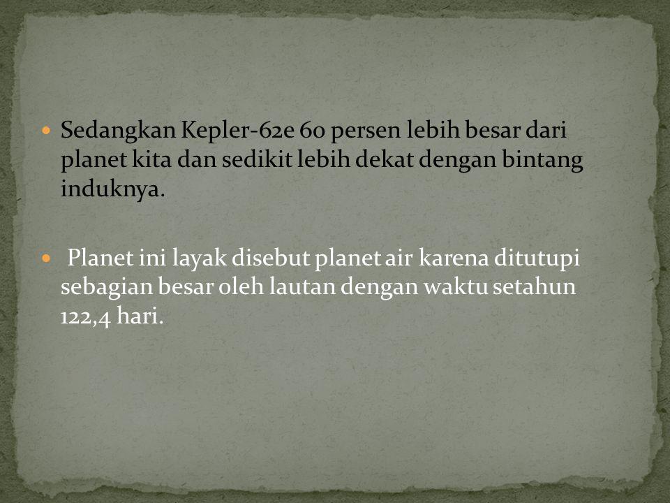 Sedangkan Kepler-62e 60 persen lebih besar dari planet kita dan sedikit lebih dekat dengan bintang induknya. Planet ini layak disebut planet air karen