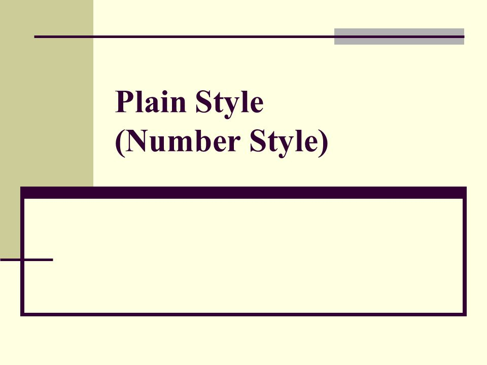 Plain Style (Number Style)