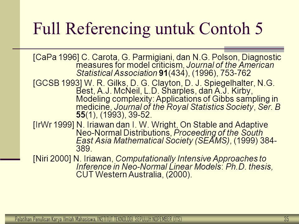 Pelatihan Penulisan Karya Ilmiah Mahasiswa, INSTITUT TEKNOLOGI SEPULUH NOPEMBER (ITS) 35 Full Referencing untuk Contoh 5 [CaPa 1996] C. Carota, G. Par
