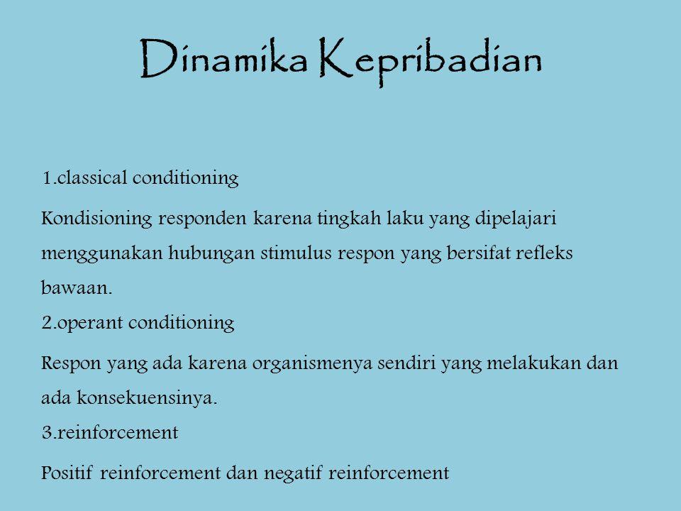 Dinamika Kepribadian 1.classical conditioning Kondisioning responden karena tingkah laku yang dipelajari menggunakan hubungan stimulus respon yang ber