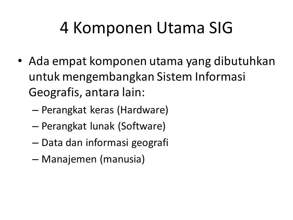4 Komponen Utama SIG Ada empat komponen utama yang dibutuhkan untuk mengembangkan Sistem Informasi Geografis, antara lain: – Perangkat keras (Hardware
