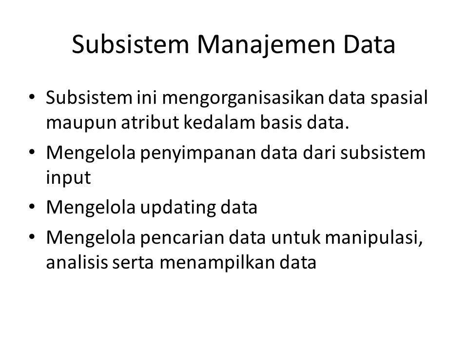 Subsistem Manajemen Data Subsistem ini mengorganisasikan data spasial maupun atribut kedalam basis data. Mengelola penyimpanan data dari subsistem inp