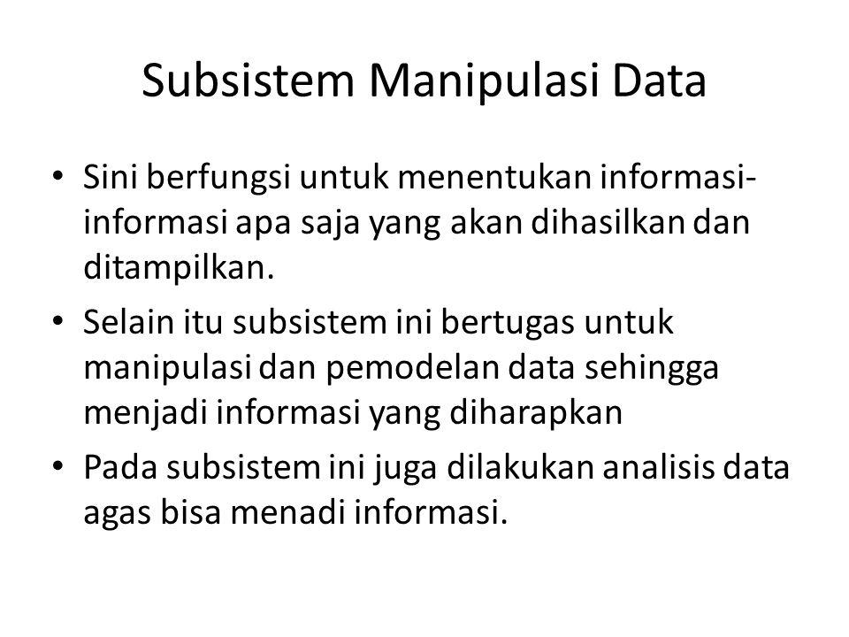 Subsistem Manipulasi Data Sini berfungsi untuk menentukan informasi- informasi apa saja yang akan dihasilkan dan ditampilkan. Selain itu subsistem ini