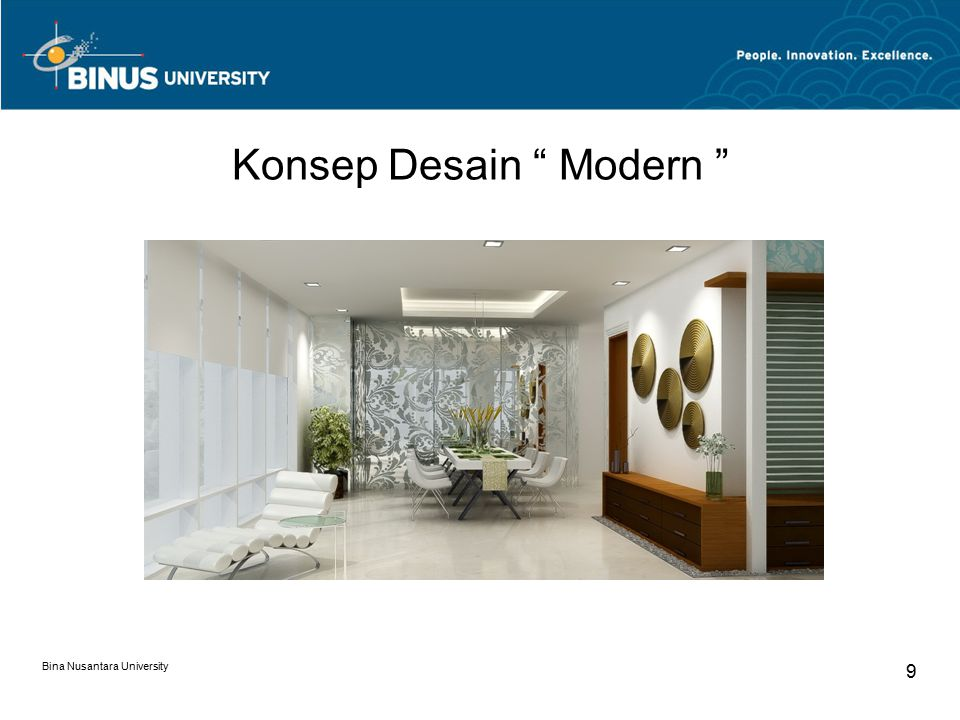 "Konsep Desain "" Modern "" Bina Nusantara University 9"