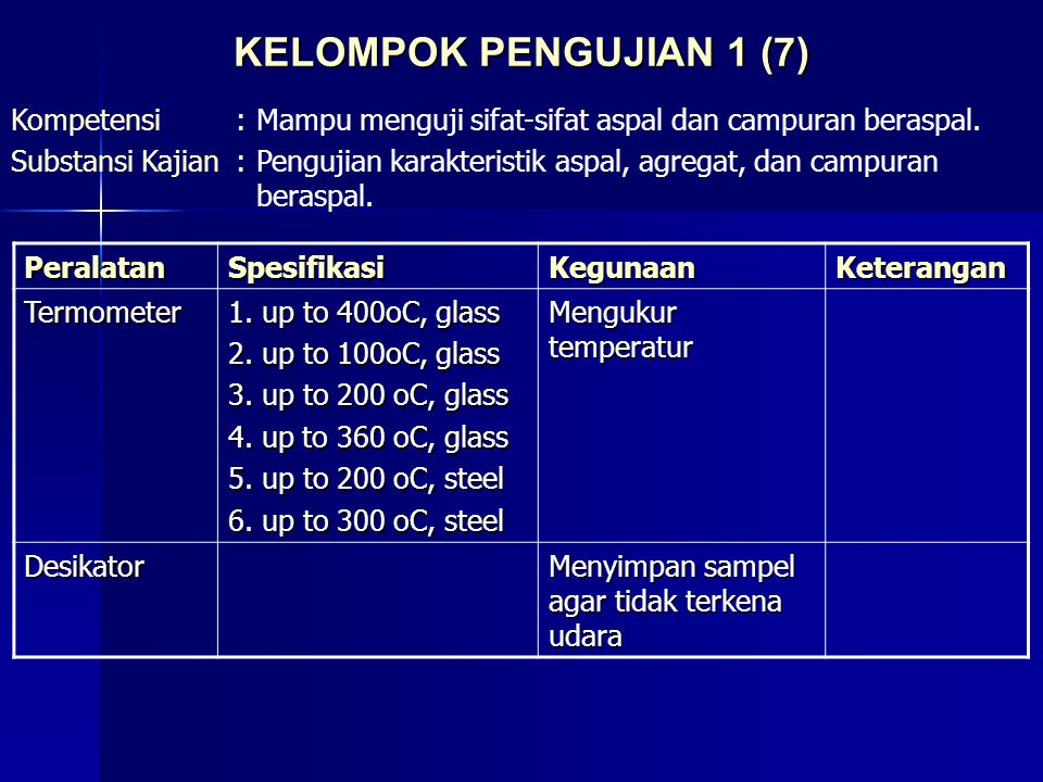 KELOMPOK PENGUJIAN 1 (7) Kompetensi:Mampu menguji sifat-sifat aspal dan campuran beraspal. Substansi Kajian:Pengujian karakteristik aspal, agregat, da