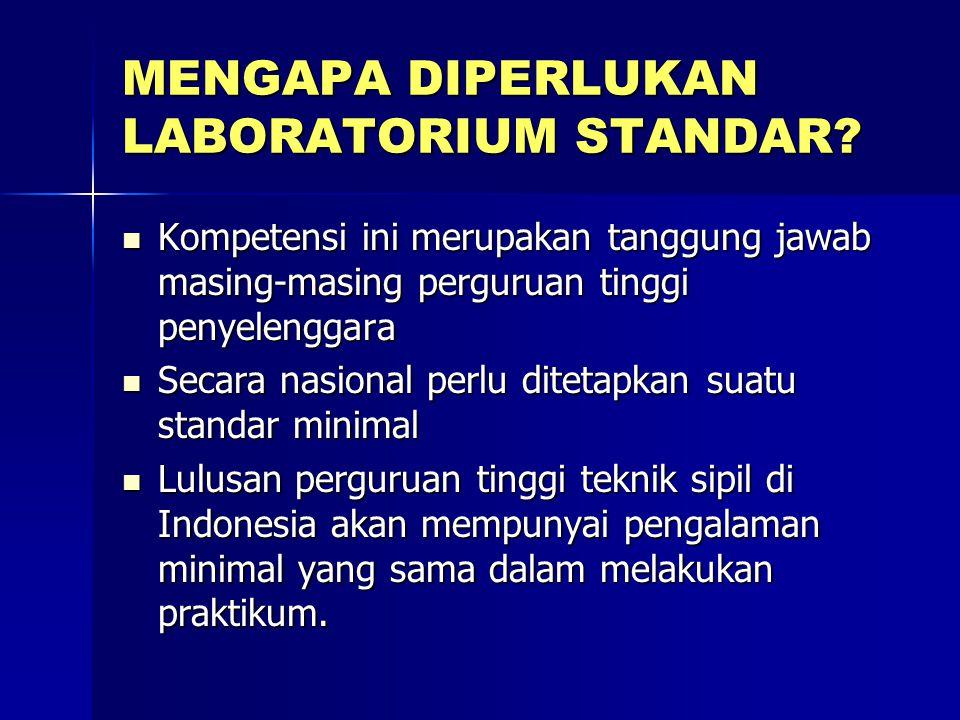 MENGAPA DIPERLUKAN LABORATORIUM STANDAR? Kompetensi ini merupakan tanggung jawab masing-masing perguruan tinggi penyelenggara Kompetensi ini merupakan