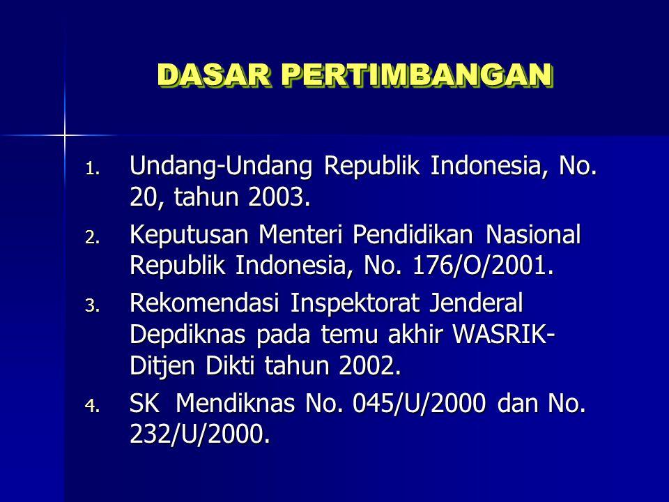 DASAR PERTIMBANGAN 1. Undang-Undang Republik Indonesia, No. 20, tahun 2003. 2. Keputusan Menteri Pendidikan Nasional Republik Indonesia, No. 176/O/200