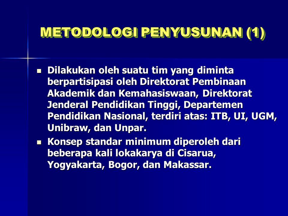 METODOLOGI PENYUSUNAN (2) Studi banding ke beberapa PT yang ada di kota Makassar dan sekitarnya (negeri maupun swasta).