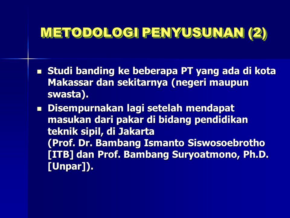 METODOLOGI PENYUSUNAN (2) Studi banding ke beberapa PT yang ada di kota Makassar dan sekitarnya (negeri maupun swasta). Studi banding ke beberapa PT y