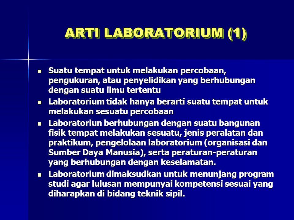 ARTI LABORATORIUM (1) Suatu tempat untuk melakukan percobaan, pengukuran, atau penyelidikan yang berhubungan dengan suatu ilmu tertentu Suatu tempat u