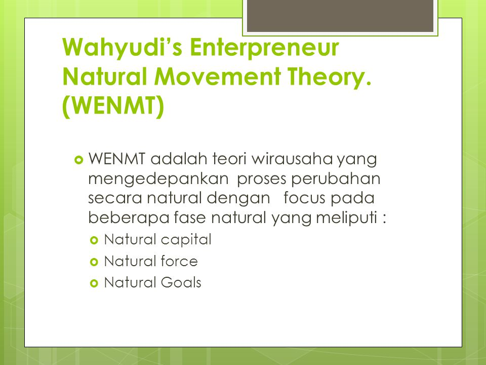 Wahyudi's Enterpreneur Natural Movement Theory.