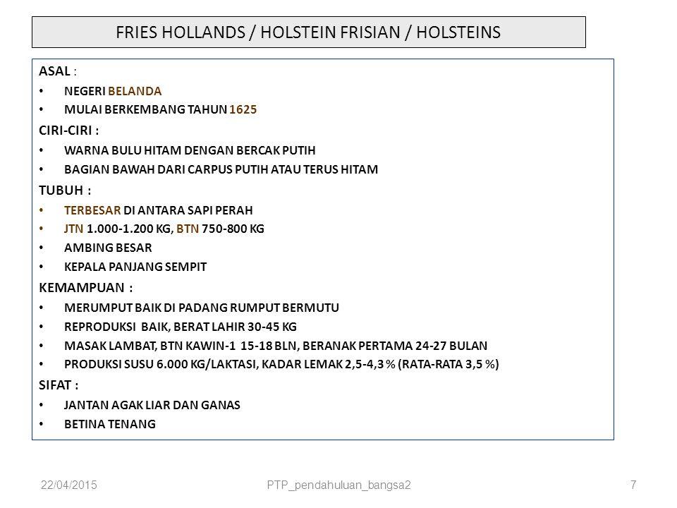FRIES HOLLANDS / HOLSTEIN FRISIAN / HOLSTEINS ASAL : NEGERI BELANDA MULAI BERKEMBANG TAHUN 1625 CIRI-CIRI : WARNA BULU HITAM DENGAN BERCAK PUTIH BAGIA