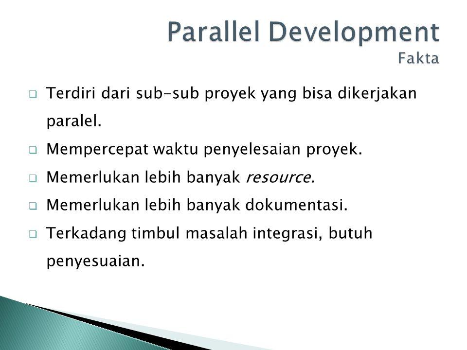  Terdiri dari sub-sub proyek yang bisa dikerjakan paralel.  Mempercepat waktu penyelesaian proyek.  Memerlukan lebih banyak resource.  Memerlukan