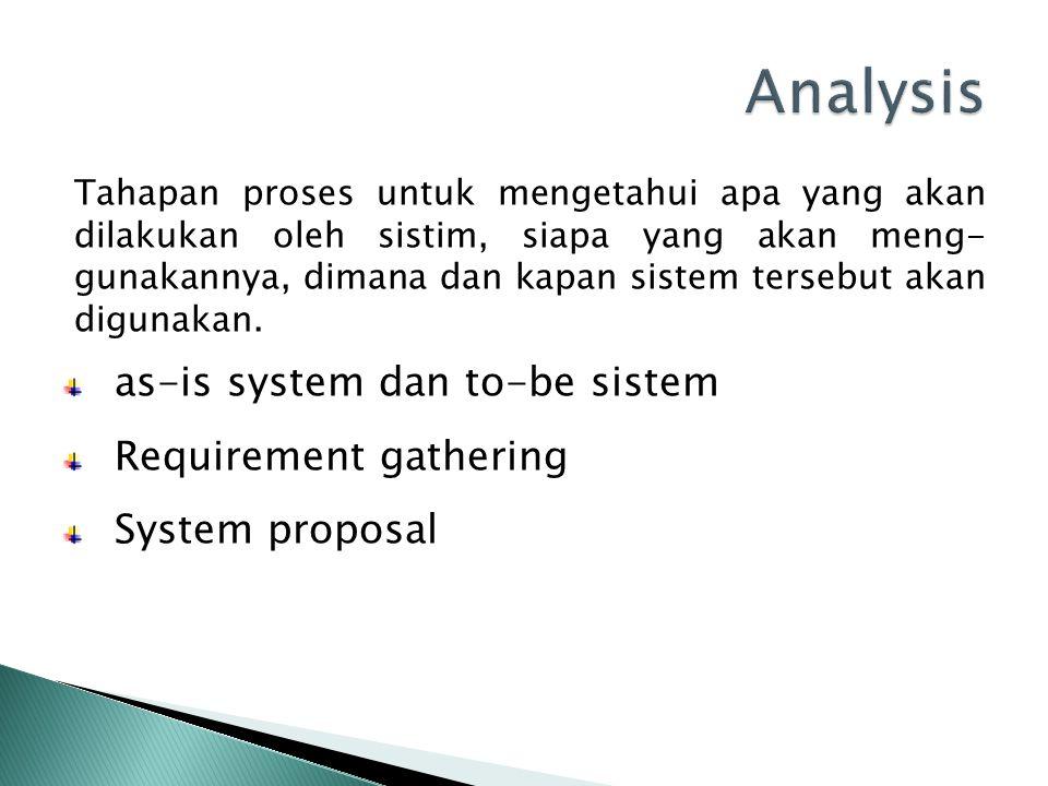 Tahapan proses untuk mengetahui apa yang akan dilakukan oleh sistim, siapa yang akan meng- gunakannya, dimana dan kapan sistem tersebut akan digunakan