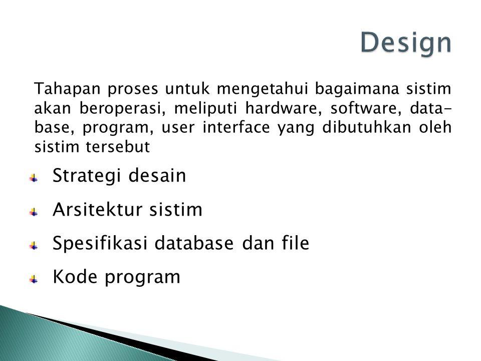 Tahapan proses untuk mengetahui bagaimana sistim akan beroperasi, meliputi hardware, software, data- base, program, user interface yang dibutuhkan ole