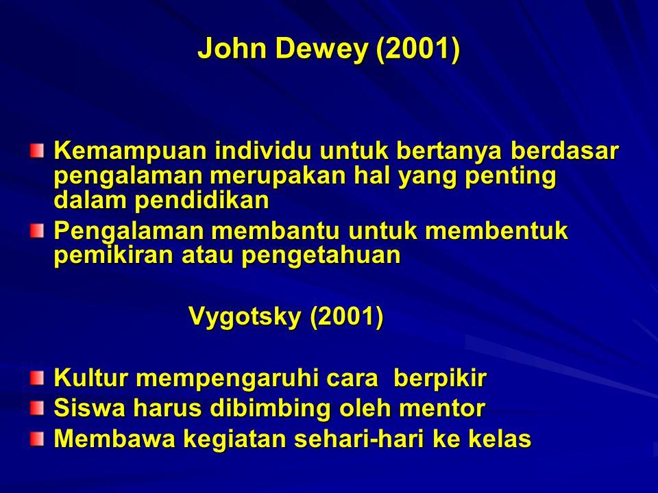 John Dewey (2001) Kemampuan individu untuk bertanya berdasar pengalaman merupakan hal yang penting dalam pendidikan Pengalaman membantu untuk membentu
