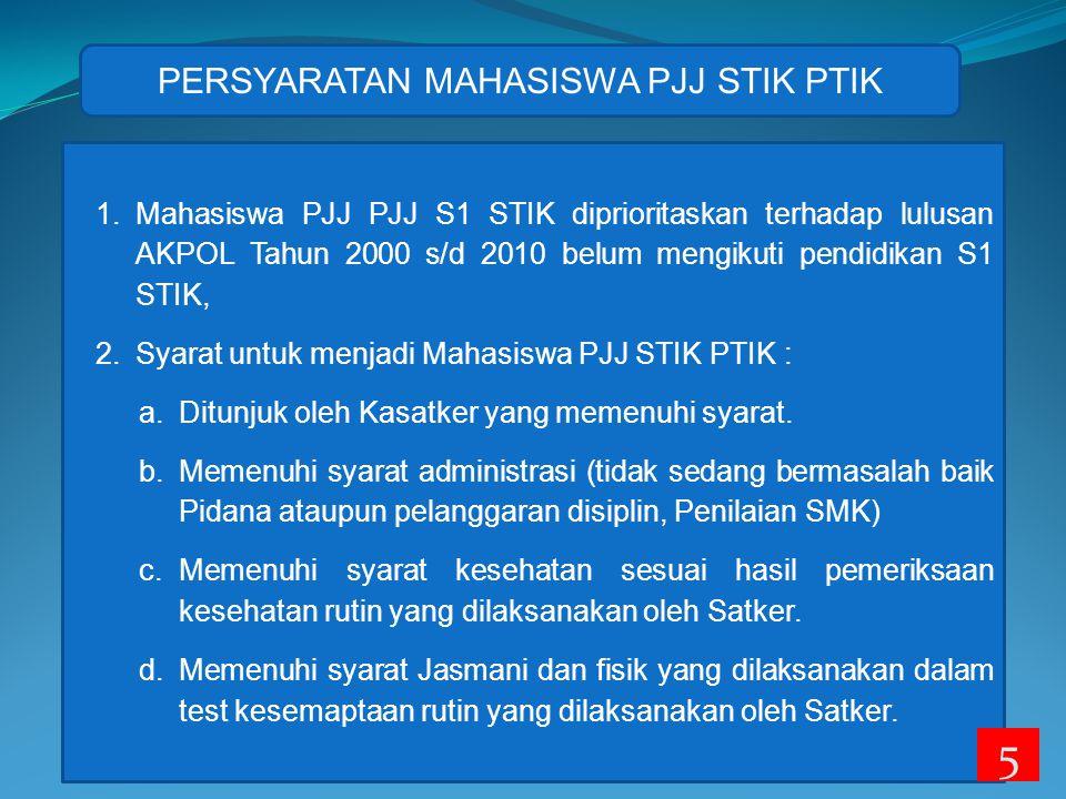 1.Mahasiswa PJJ PJJ S1 STIK diprioritaskan terhadap lulusan AKPOL Tahun 2000 s/d 2010 belum mengikuti pendidikan S1 STIK, 2.Syarat untuk menjadi Mahasiswa PJJ STIK PTIK : a.Ditunjuk oleh Kasatker yang memenuhi syarat.
