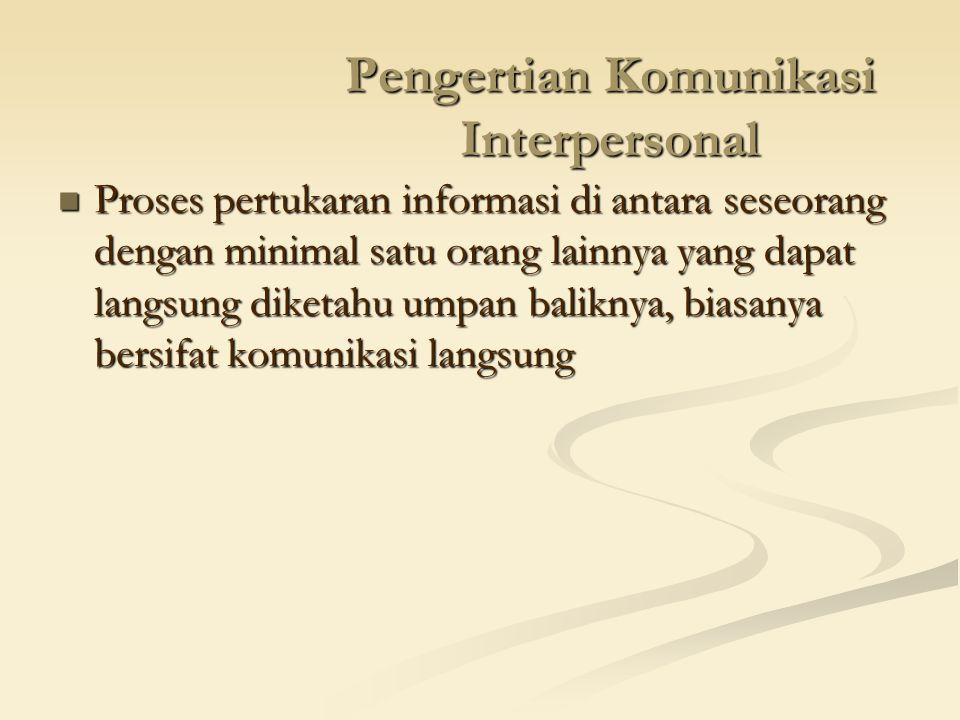 Pengertian Komunikasi Interpersonal Proses pertukaran informasi di antara seseorang dengan minimal satu orang lainnya yang dapat langsung diketahu ump