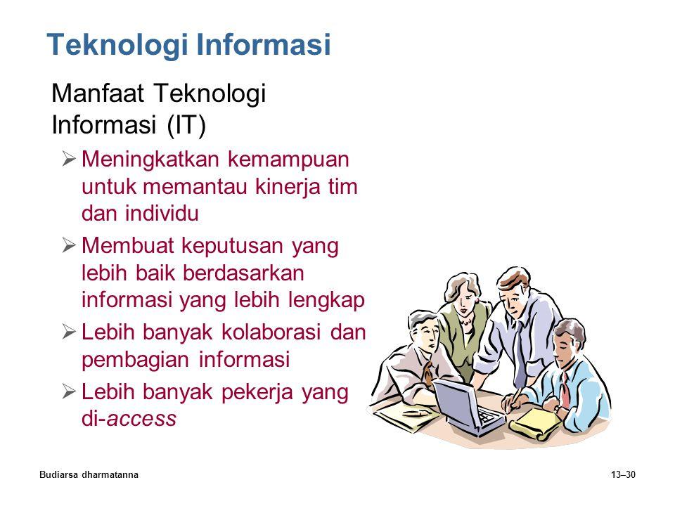 Budiarsa dharmatanna13–30 Teknologi Informasi Manfaat Teknologi Informasi (IT)  Meningkatkan kemampuan untuk memantau kinerja tim dan individu  Memb
