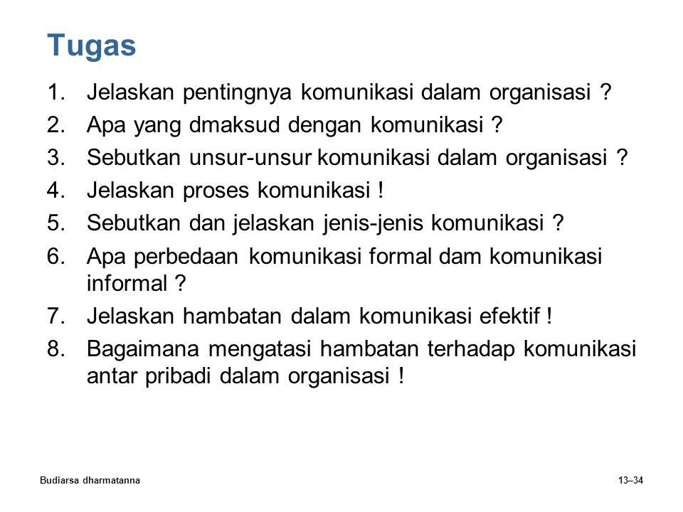 Budiarsa dharmatanna13–34 Tugas 1.Jelaskan pentingnya komunikasi dalam organisasi ? 2.Apa yang dmaksud dengan komunikasi ? 3.Sebutkan unsur-unsur komu