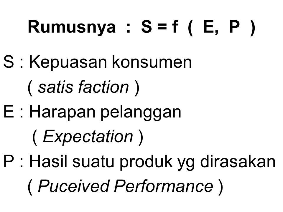 Rumusnya : S = f ( E, P ) S : Kepuasan konsumen ( satis faction ) E : Harapan pelanggan ( Expectation ) P : Hasil suatu produk yg dirasakan ( Puceived