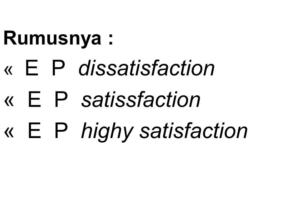 Rumusnya : « E P dissatisfaction « E P satissfaction « E P highy satisfaction