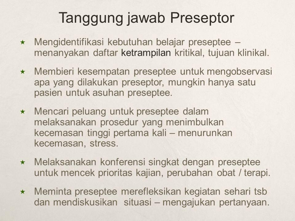  Mengidentifikasi kebutuhan belajar preseptee – menanyakan daftar ketrampilan kritikal, tujuan klinikal.  Membieri kesempatan preseptee untuk mengob