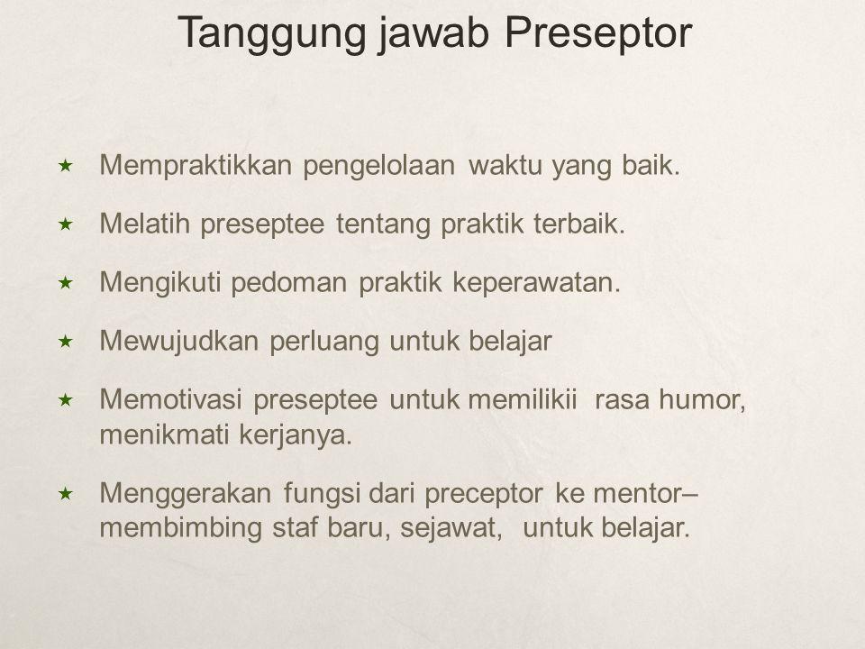  Mempraktikkan pengelolaan waktu yang baik.  Melatih preseptee tentang praktik terbaik.  Mengikuti pedoman praktik keperawatan.  Mewujudkan perlua