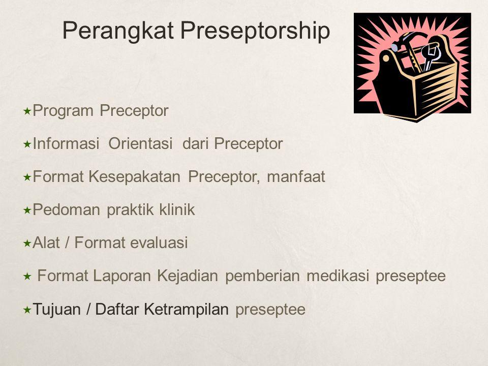  Program Preceptor  Informasi Orientasi dari Preceptor  Format Kesepakatan Preceptor, manfaat  Pedoman praktik klinik  Alat / Format evaluasi  F
