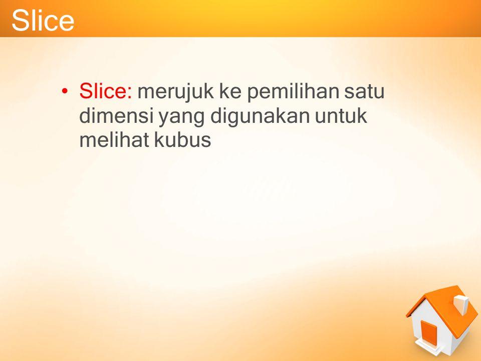 Slice Slice: merujuk ke pemilihan satu dimensi yang digunakan untuk melihat kubus