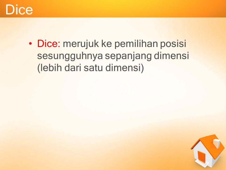 Dice Dice: merujuk ke pemilihan posisi sesungguhnya sepanjang dimensi (lebih dari satu dimensi)