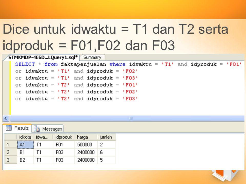 Dice untuk idwaktu = T1 dan T2 serta idproduk = F01,F02 dan F03