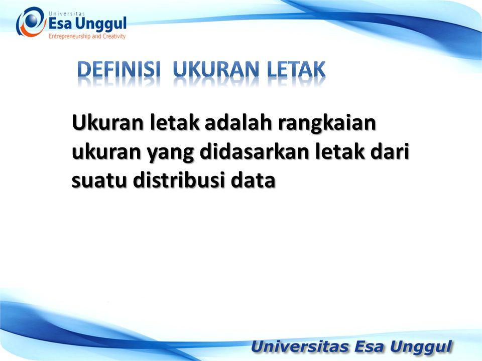Tahun Pendapatan Nasional (milyar Rupiah) 1990 1991 1992 1993 1994 1995 1996 1997 590,6 612,7 630,8 645 667,9 702,3 801,3 815,7 Ukuran letak adalah rangkaian ukuran yang didasarkan letak dari suatu distribusi data