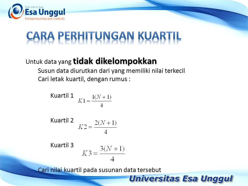 Tahun Pendapatan Nasional (milyar Rupiah) 1990 1991 1992 1993 1994 1995 1996 1997 590,6 612,7 630,8 645 667,9 702,3 801,3 815,7 tidak dikelompokkan Untuk data yang tidak dikelompokkan Contoh ; Carilah nilai kuartil pada rangkaian data berikut ini ; 2433657 Langkah : Susunan data : 1334567 Letak kuartil :, terletak pada data yang ke-2, Terletak pada data yang ke-4, terletak pada data yang ke-6 Maka nilai K1 adalah 3, nilai K2 adalah 4 dan nilai K3 adalah 6.