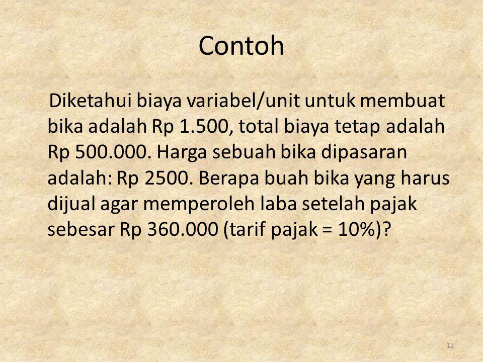 Contoh Diketahui biaya variabel/unit untuk membuat bika adalah Rp 1.500, total biaya tetap adalah Rp 500.000. Harga sebuah bika dipasaran adalah: Rp 2