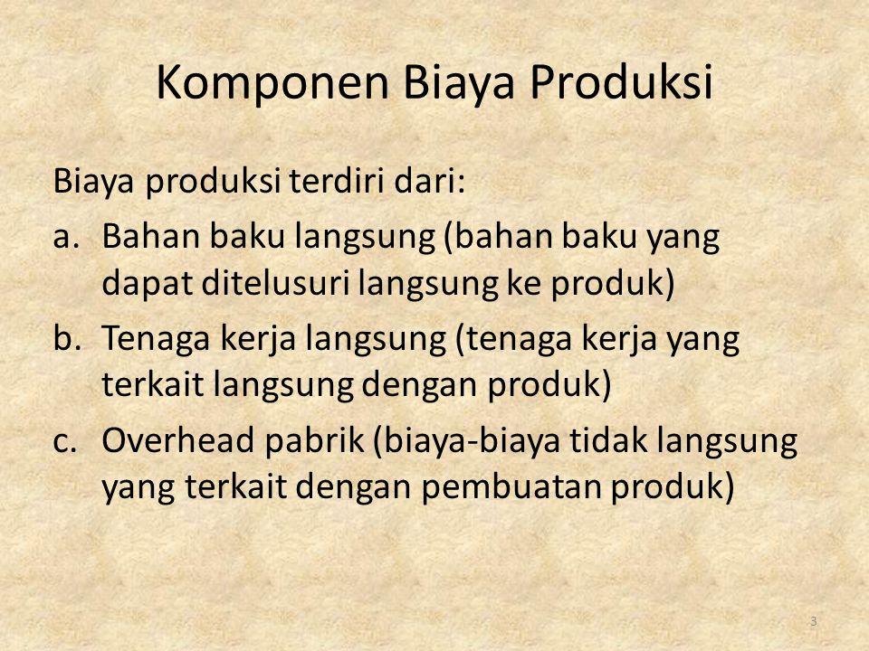 Komponen Biaya Produksi Biaya produksi terdiri dari: a.Bahan baku langsung (bahan baku yang dapat ditelusuri langsung ke produk) b.Tenaga kerja langsu