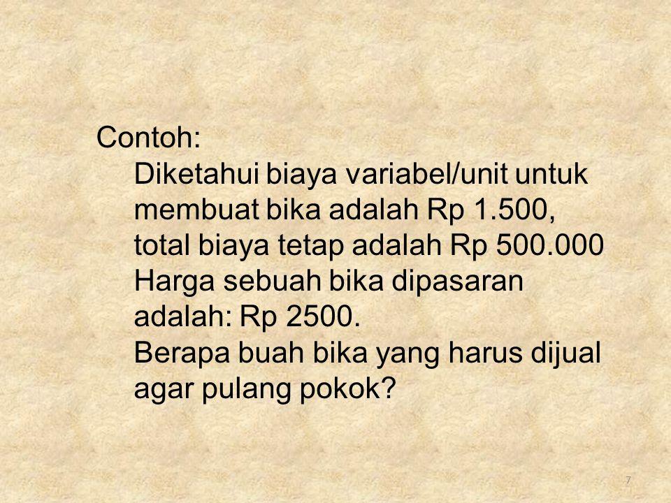 7 Contoh: Diketahui biaya variabel/unit untuk membuat bika adalah Rp 1.500, total biaya tetap adalah Rp 500.000 Harga sebuah bika dipasaran adalah: Rp