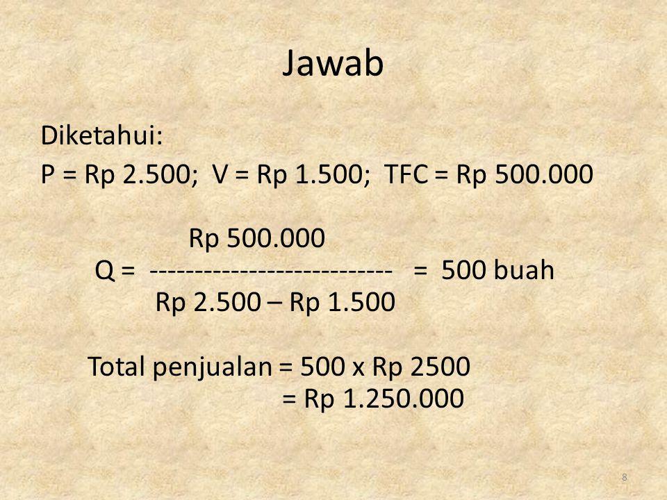 Rumus dengan target laba sebelum pajak: TFC + EBT Q = ---------------------- P - V Contoh: Diketahui biaya variabel/unit untuk membuat bika adalah Rp 1.500, total biaya tetap adalah Rp 500.000 Harga sebuah bika dipasaran adalah: Rp 2500.