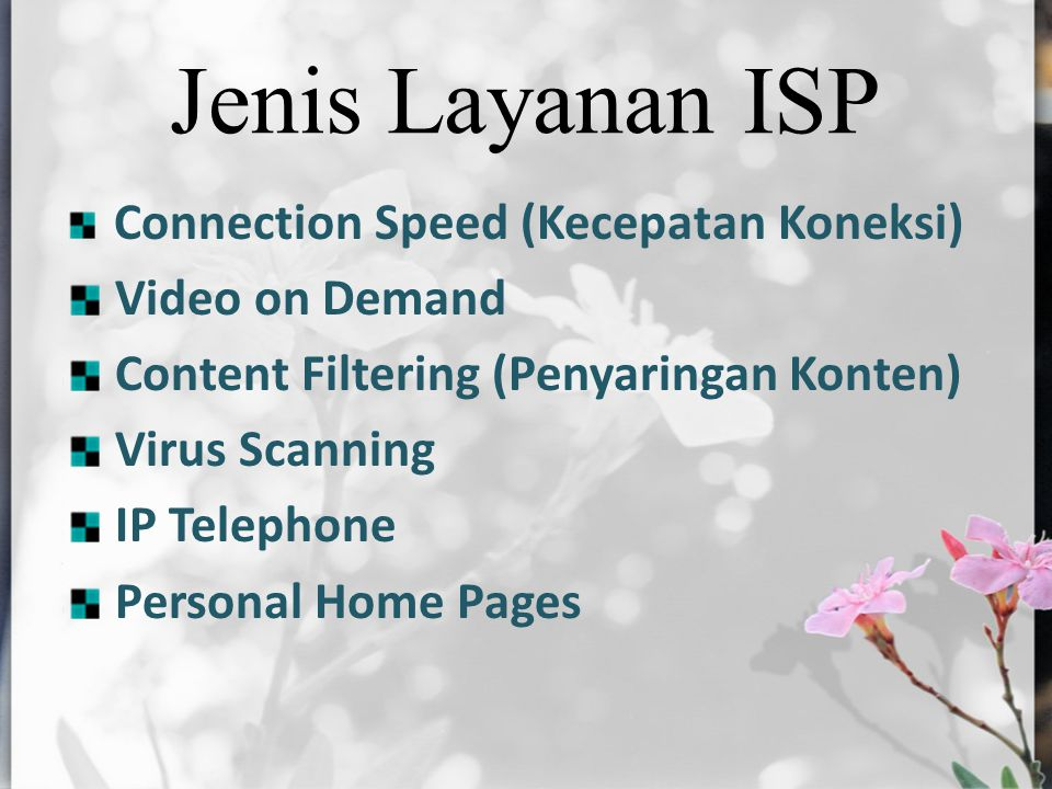 Jenis Layanan ISP Connection Speed (Kecepatan Koneksi) Video on Demand Content Filtering (Penyaringan Konten) Virus Scanning IP Telephone Personal Hom