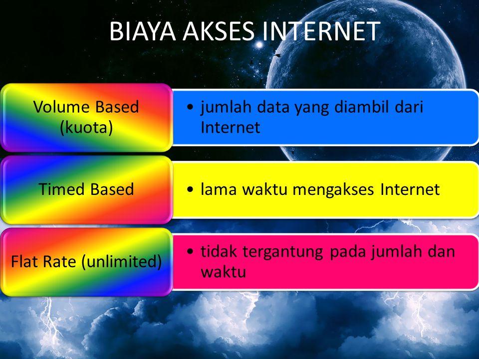 BIAYA AKSES INTERNET jumlah data yang diambil dari Internet Volume Based (kuota) lama waktu mengakses Internet Timed Based tidak tergantung pada jumla
