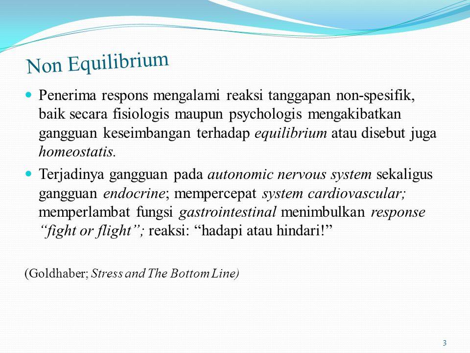 Non Equilibrium Penerima respons mengalami reaksi tanggapan non-spesifik, baik secara fisiologis maupun psychologis mengakibatkan gangguan keseimbangan terhadap equilibrium atau disebut juga homeostatis.